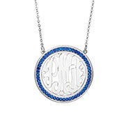 Birthstone Monogram Necklace in Silver