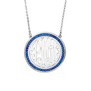 Birthstone Monogram Necklace in Silver