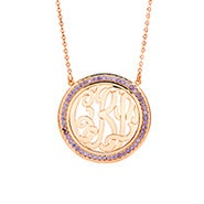 Birthstone Monogram Necklace in Rose Gold