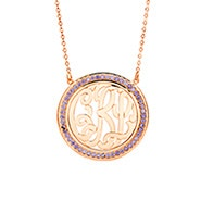 Rose Gold Birthstone Monogram Necklace