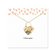 I Love You Key To My Heart Gold Birthstone Locket