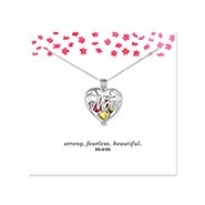 Strong Fearless Beautiful Custom Mom Birthstone Heart Locket