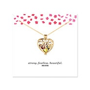 Strong Fearless Beautiful Mom Birthstone Gold Heart Locket
