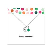 Happy Birthday Hand Stamped Silver Mini Initial Birthstone Necklace