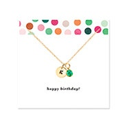 Happy Birthday Hand Stamped Gold Mini Initial Birthstone Necklace