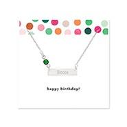 Birthday Birthstone Silver Name Bar Necklace