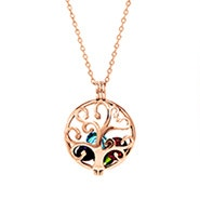 Family Tree Custom Birthstone Rose Gold Locket