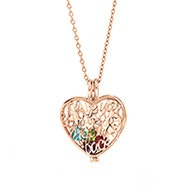 I Love You To The Moon and Back Birthstone Rose Gold Locket