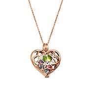 Interlocking Hearts Birthstone Rose Gold Locket