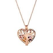 Heart Family Tree Rose Gold Birthstone Locket