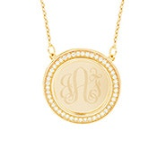 Engravable CZ Border Gold Disc Necklace