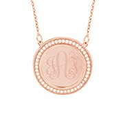 Engravable CZ Border Rose Gold Disc Necklace