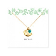 New Mom and Baby Bird Gold Birthstone Necklace