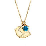 Custom Mom and Baby Bird Birthstone Gold Necklace