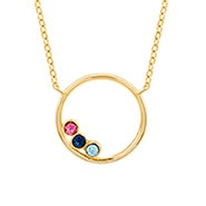 3 Stone Gold Circle Mother's Birthstone Necklace