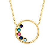 5 Stone Gold Circle Mother's Birthstone Necklace