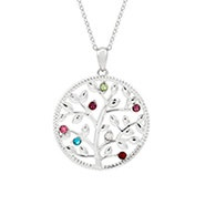 7 Stone Custom Birthstone Silver Family Tree Necklace
