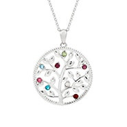 8 Stone Custom Birthstone Silver Family Tree Necklace