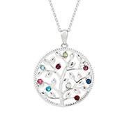 9 Stone Custom Birthstone Silver Family Tree Necklace