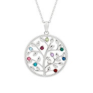 10 Stone Silver Birthstone Family Tree Necklace