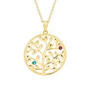 2 Stone Custom Birthstone Gold Family Tree Necklace