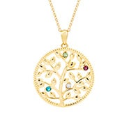 4 Stone Custom Birthstone Gold Family Tree Necklace