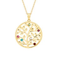 6 Stone Custom Birthstone Gold Family Tree Necklace