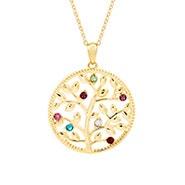 7 Stone Custom Birthstone Gold Family Tree Necklace
