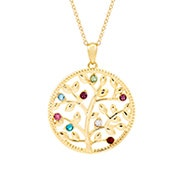 8 Stone Custom Birthstone Gold Family Tree Necklace