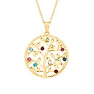 9 Stone Custom Birthstone Gold Family Tree Necklace