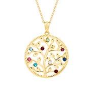 9 Stone Custom Birthstone Gold Family Tree Necklace