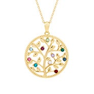 10 Stone Custom Birthstone Gold Family Tree Necklace