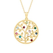 10 Stone Gold Birthstone Family Tree Necklace