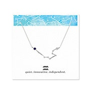 Aquarius Zodiac Birthstone Silver Constellation Necklace