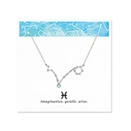 Pisces Zodiac Birthstone Silver Constellation Necklace