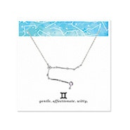 Gemini Zodiac Birthstone Silver Constellation Necklace
