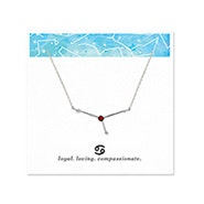 Cancer Zodiac Birthstone Silver Constellation Necklace