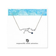 Virgo Zodiac Birthstone Silver Constellation Necklace