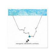 Sagittarius Zodiac Birthstone Silver Constellation Necklace