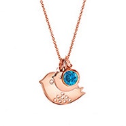 Custom Mom and Baby Bird Birthstone Rose Gold Necklace