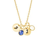 Hand Stamped Initial Birthstone Gold Necklace