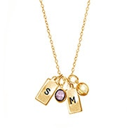 Hand Stamped Rectangle Initial Birthstone Gold Necklace