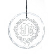 Etched Wreath Personalized Monogram Round Glass Ornament