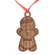 Personalized Gingerbread Boy Wood Ornament