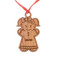 Personalized Gingerbread Girl Wood Ornament