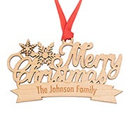 Merry Christmas Custom Wood Ornament