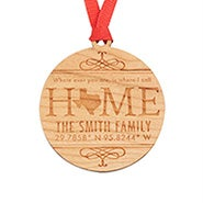Custom Coordinate Wood Christmas Ornament