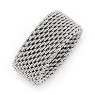 Designer Style Sterling Silver Mesh Ring
