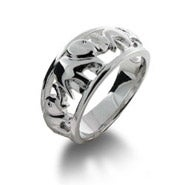Elephants on Parade Sterling Silver Ring