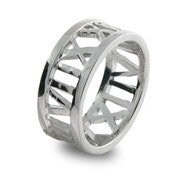 Designer Style Roman Numeral Open Sterling Silver Ring